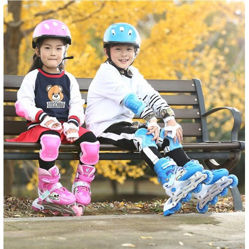 Adjustable Skate Roller Skating Shoes With Helmet Knee Brace Protector Gear Kit